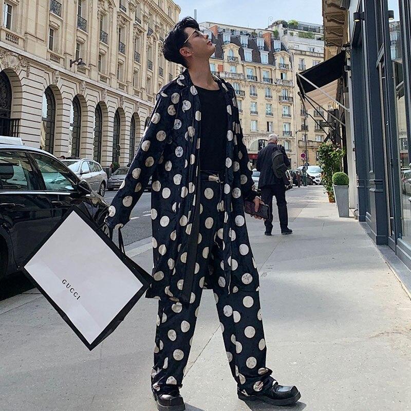 Men Loose Casual 2PCS Sets (jacket+pant) Male WomenVintage Streetwear Hip Hop Polka Dot Velvet Long Windbreaker   Trench   Coat
