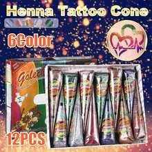 6 farben 12 teile/satz Indische Mehndi Henna Tattoo Paste Kegel Farbige Körper Kunst Farbe Wasserdichte Temporäre Tattoo Aufkleber + Schablone