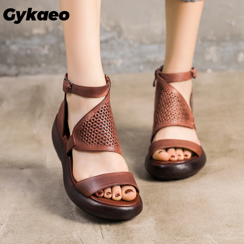 Vintage Handmade Genuine Leather Women's Sandals Thick-Soled Casual Wedges Shoes for Women Hollow Out Summer Sandalias Mujer