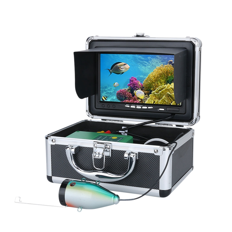 7Inch HD 1280x720 Screen Double Lamp 1080P 15M Camera Fish Finder Underwater Fishing Camera for Fishing (US Plug)