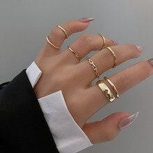 7 pçs moda jóias anéis definir venda quente liga de metal oco abertura redonda anel de dedo feminino para a menina senhora festa presentes de casamento