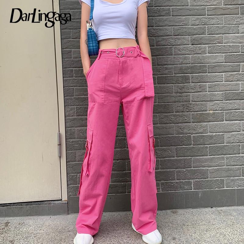 Darlingaga Fashion Pink Solid Cargo Pants Women Pockets Streetwear Straight Trousers Sweatpants High Waist Pants with Belt Capri