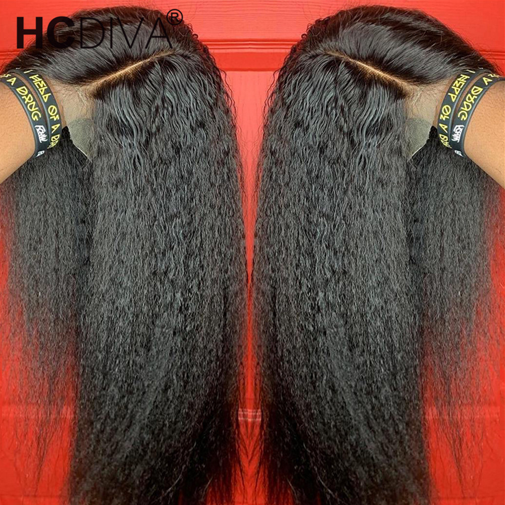 Kinky Straight Lace Part Wig 13*1 Brazilian Remy Human Hair Wig 5inch Deep Part Lace Wig  Pixie Cut Wig 150% 10--28inch Lace Wig