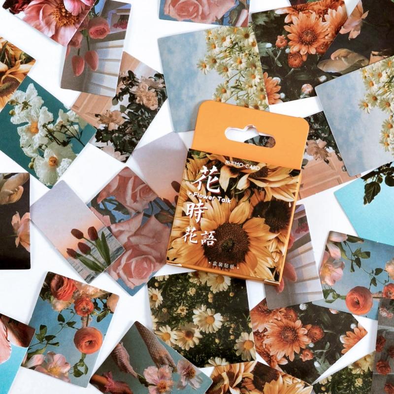 Mohamm 46 adet çiçek konuşması serisi çıkartmaları dekorasyon Scrapbooking kağıt yaratıcı kırtasiye okul malzemeleri