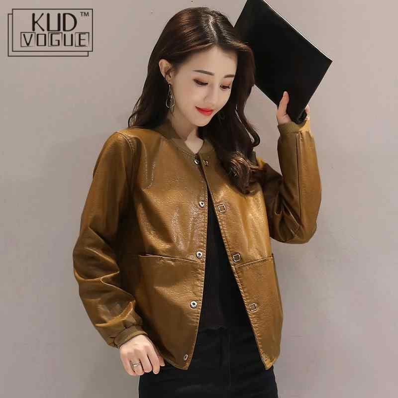 Women Leather Bomber Jacket Short Spring New Loose Pu Leather Jacket Black Red Caramel Brown Female Casual Plus Size Coat 3xl