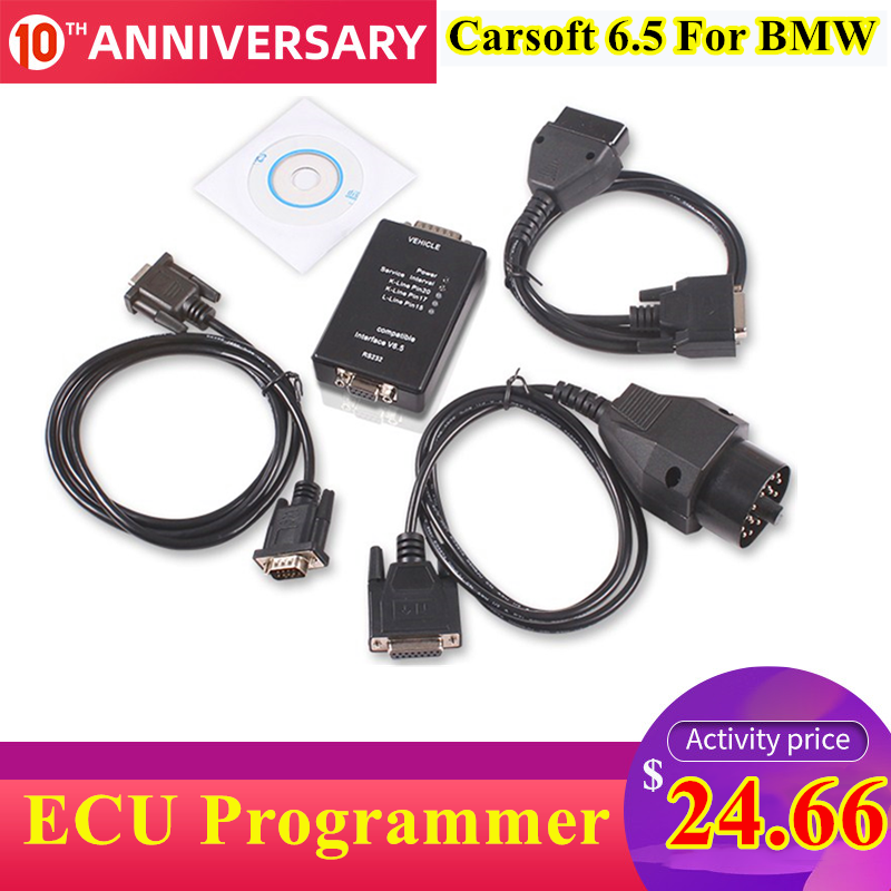 Auto Carsoft 6.5 For BMW ECU Programmer/MCU OBD2 Car Diagnostic Tool For BMW E30/E36/E46/E34/E39/E53/E32 With RS232 PC Interface