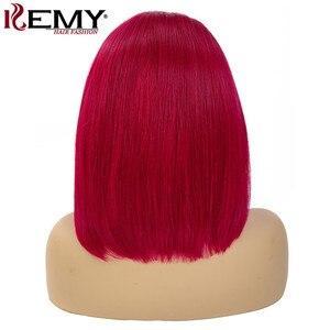 Image 4 - 99J/bordo kısa Bob İnsan saç peruk 13x4 dantel ön peruk ön koparıp brezilyalı düz dantel ön peruk kadınlar için Remy 150%