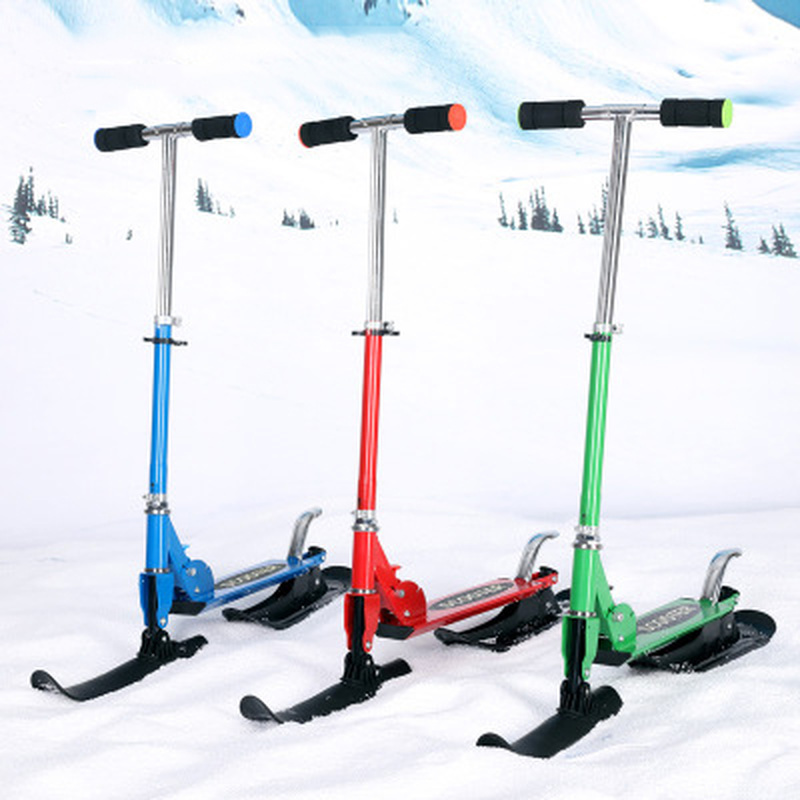 Ski Sleigh Accessories Children's Dual-use Ski Two-in-one Scooter Two Wheels Snow Scooter Ski