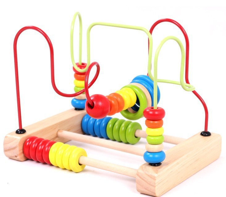 Large Size Desktop 2-Wire Abacus Calculation Bead-stringing Toy Rb24 Children Wooden Early Childhood Educational Toy 1-3 Years O
