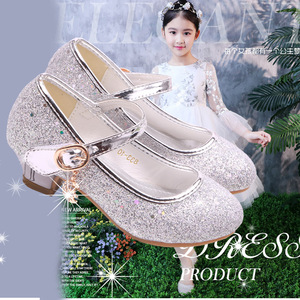 Image 5 - Kinder Prinzessin Schuhe student dance schuhe für Mädchen Hohe Ferse Sandalen Kleid Lila Kinder Leder Glitter Kristall Schuhe Bankett