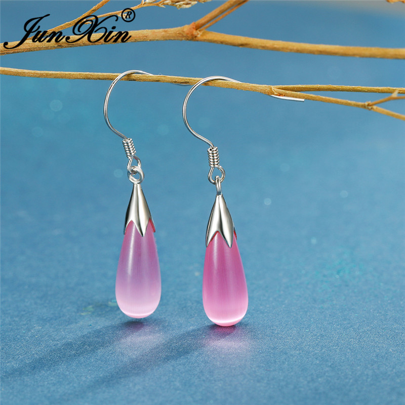 White Gold Filled Water Drop Dangle Earrings For Women Cute Pink White Opal Earrings Wedding Engagement Ear Jewelry