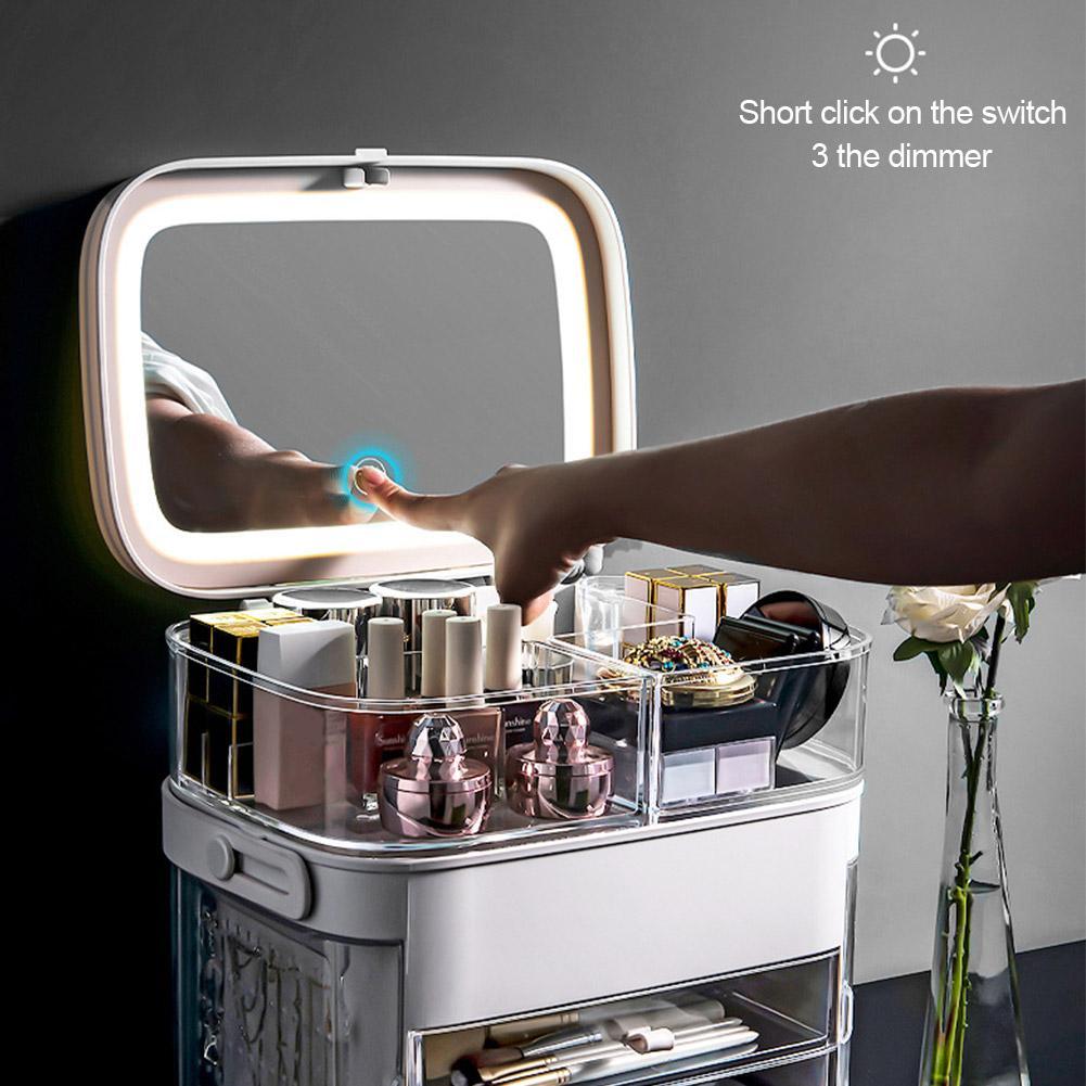 espelho led cosmeticos organizador portatil caixa de armazenamento de maquiagem caixa de joias grande compoem batom