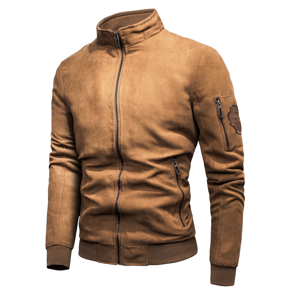 Men Brand New Spring Vintage Casual Luxury Line Jacket Coat Men Autumn Styles Outfits Suede Stand Collar Jackets Coat Parkas Men