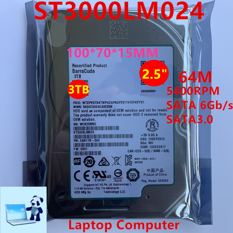 """New HDD For Seagate Brand 3TB 2.5"""" SATA 6 Gb/s 64MB 5400RPM For Internal Hard Disk For NotebookHDD For ST3000LM024 1"""