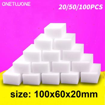 20 50 100 sztuk gąbka z melaminy magiczna gumka gąbka artykuły domowe do czyszczenia gąbka do czyszczenia do kuchni narzędzia do czyszczenia łazienki tanie i dobre opinie CN (pochodzenie) Sponge Ekologiczne Na stanie KİTCHEN Magic Sponge 0 16KG 100Pcs Melamine sponge White 20pcs 50pcs 100pcs