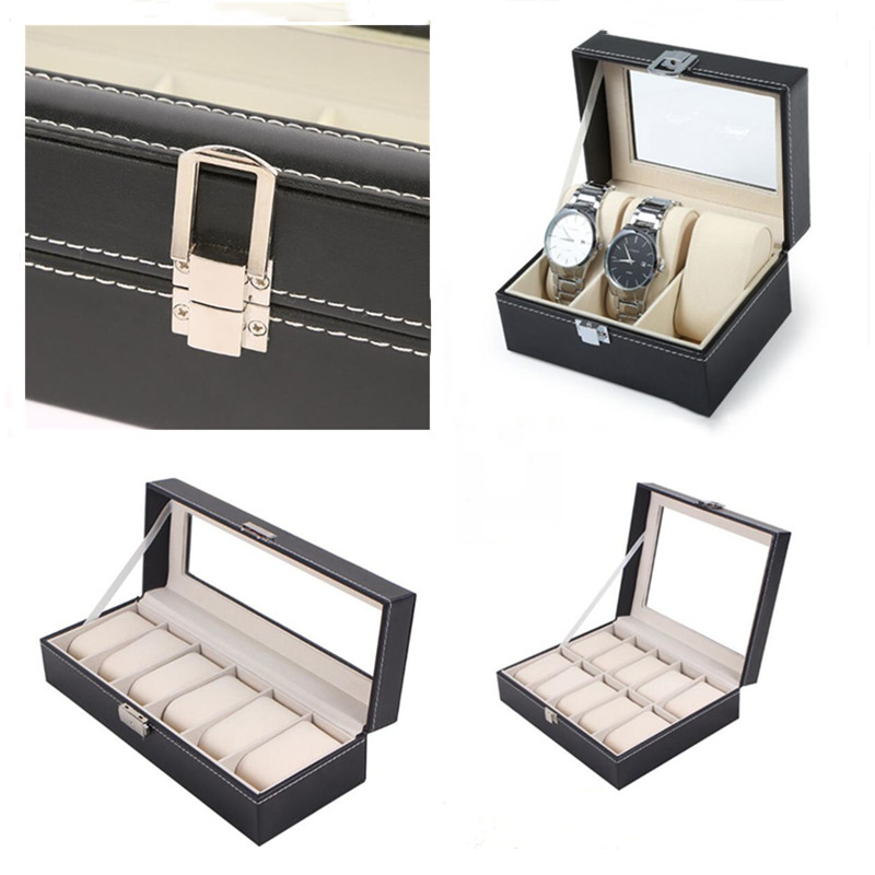 1/2/3/5/6/10/12 Grids PU Leather Watch Box Case Holder Organizer For Quartz Watches Jewelry Boxes Display With Lock Best Gift