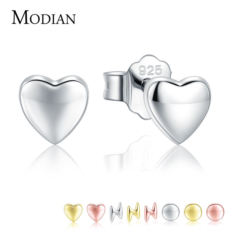 Modian Hot Sale 100% 925 Sterling Silver Cute Small Hearts Stud Earrings For Women Fashion Round Luxury Lightning Fine Jewelry