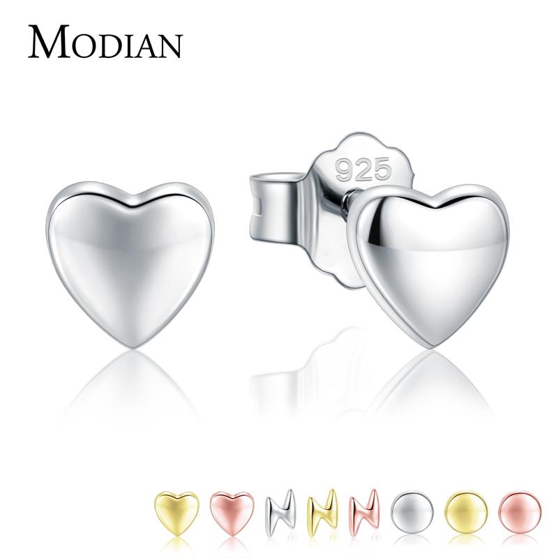 Modian Hot Sale 100% 925 Sterling Silver Cute Small Hearts Stud Earrings For Women Fashion Round Luxury Lightning Fine Jewelry