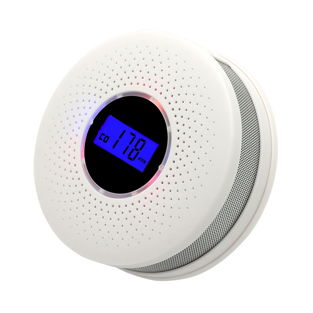 Carbon Monoxide & Smoke Detector Sensors 2 In 1 LCD Display Battery Operated CO Alarm With LED Light Flashing Sound Warning