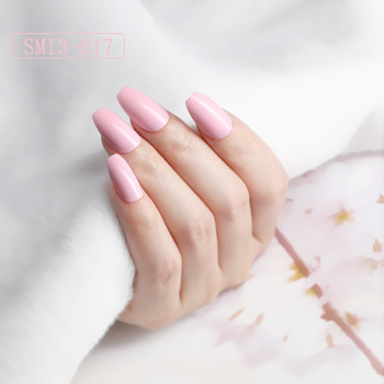 24pcs French Ballerina Fake Nail Nail-painted Fashion Pure Color Nail Patch With Glue Full Cover False Nail Nail Art Accessories image