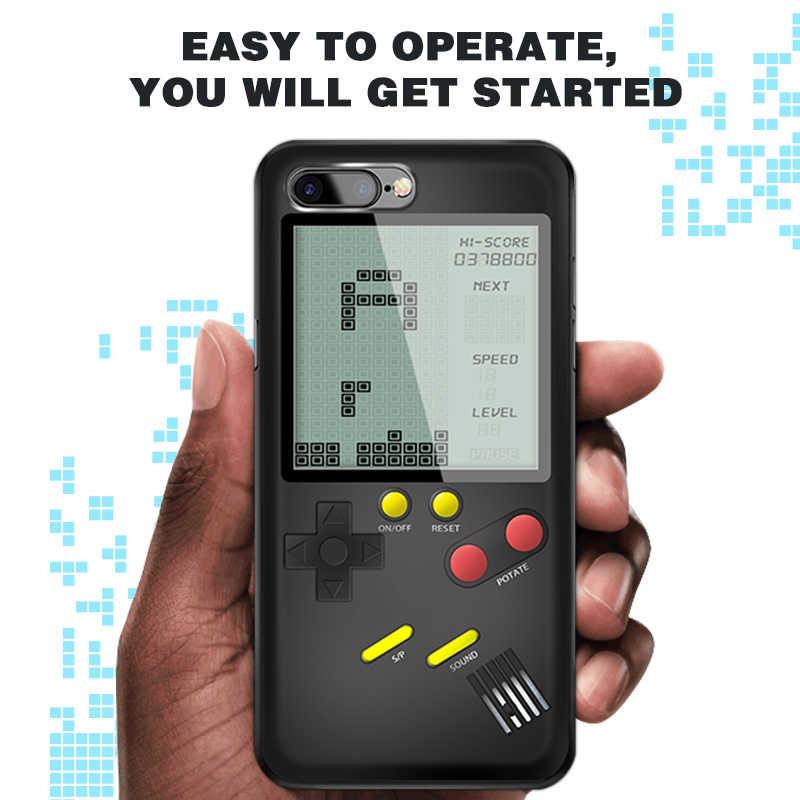 Data Kikker Ingebouwde 8 Klassieke Tetris Games Machine Case voor Iphone6/7/8/X Plus Bescherm Shell nostalgische Game Console Voor Iphone 7