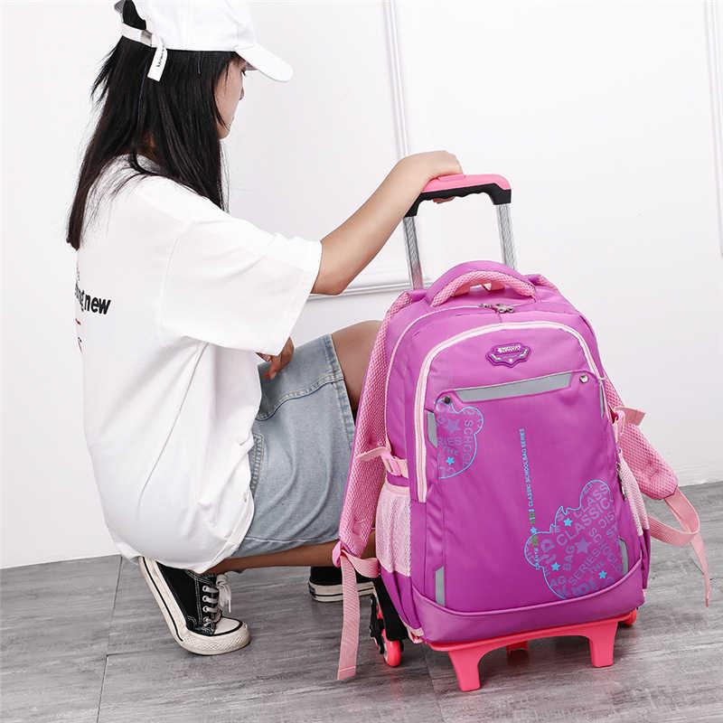 Removível Crianças Escola Bags 2/6/Rodas Grandes para Meninas meninos Do Trole de Grande capacidade Mochila Crianças Subir escadas saco com rodas