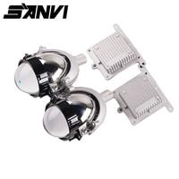 Sanvi Super Bright Car LED Headlights 35W 5500K High Low Beam Car styling Auto Bi LED Projector Lens Headlights RHD&LHD Headlamp