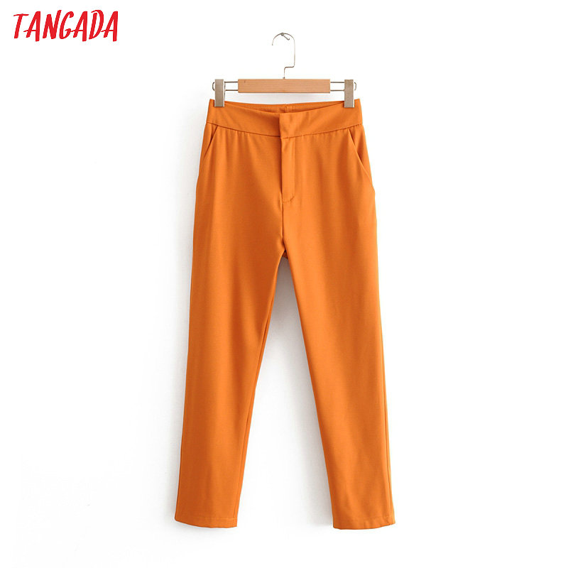 Tangada Fashion Women Orange Suit Pants Trousers Pockets Pocket 2019 Office Lady Long Pants Pantalon  DA44