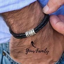 Pulsera trenzada de cuero genuino para hombre, cuentas personalizadas de acero inoxidable, abalorio de nombre, pulsera con nombres de familia
