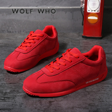 WOLF WHO Breathable Men Sneakers Male Shoes Adult Red Black