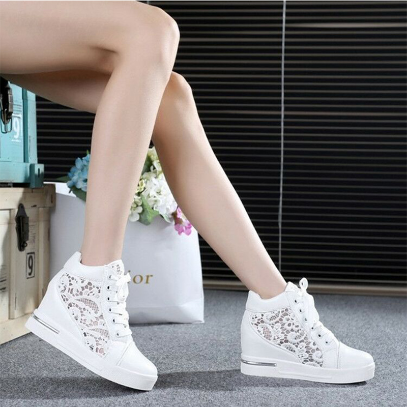 Summer Women Shoes Woman Breathable Mesh Sneakers Flats Lace Loafers Thick Heels Platform Wedges Casual Comfort Creepers 2020