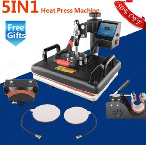 Wtsfwf 30*38CM 5 in1 Combo Heat Press Machine 2D Thermal Transfer Machine for tshirts plates mugs cases bags mouse pads printing