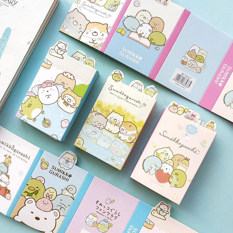 Kawaii Cartoon Sumikko Gurashi 6 Folding Memo Pad N Times Sticky Notes Memo Notepad Bookmark Gift Stationery