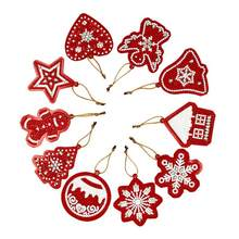 10 pçs feito à mão pingentes de árvore de natal único-lado forma especial diamante pintura ornamentos acessórios decorativos de natal presente