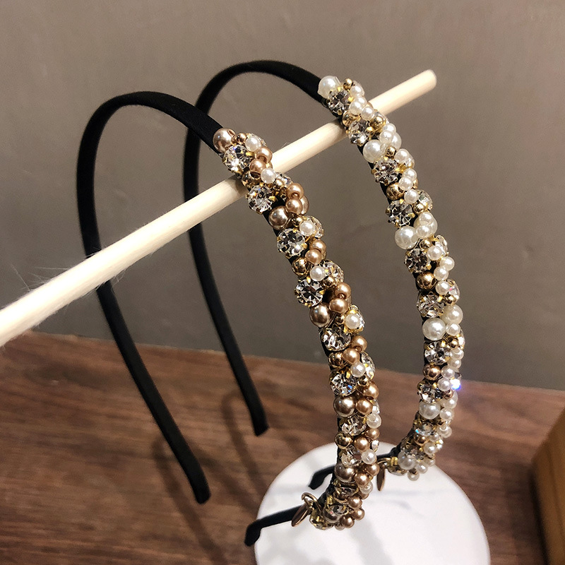 Korean Hair Accessories Retro Pearl Headband Palace Rhinestone Fine Hairpin Female Hair Bundle Headband G0130