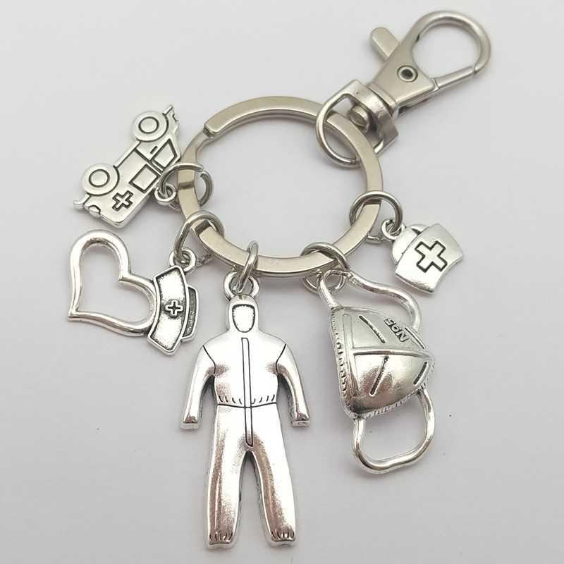 Silver stethoscope new key chain ring Initial Letter monogram charm pendants