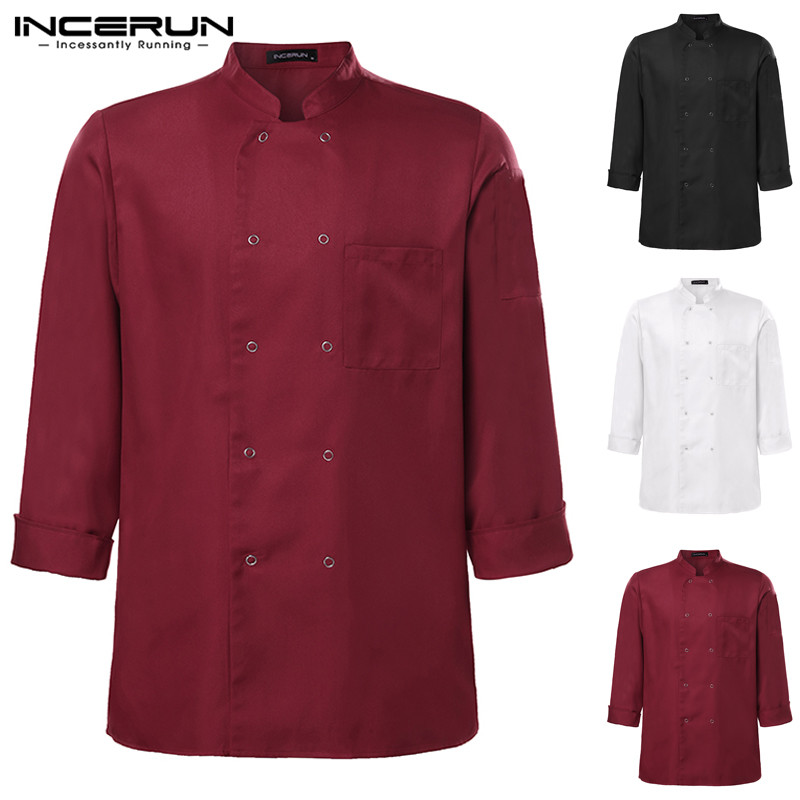 INCERUN Long Sleeve Chef Jackets Casual Solid Double Breasted Kitchen Restaurant Catering Tunic Chef Uniform Unisex Tops S-5XL