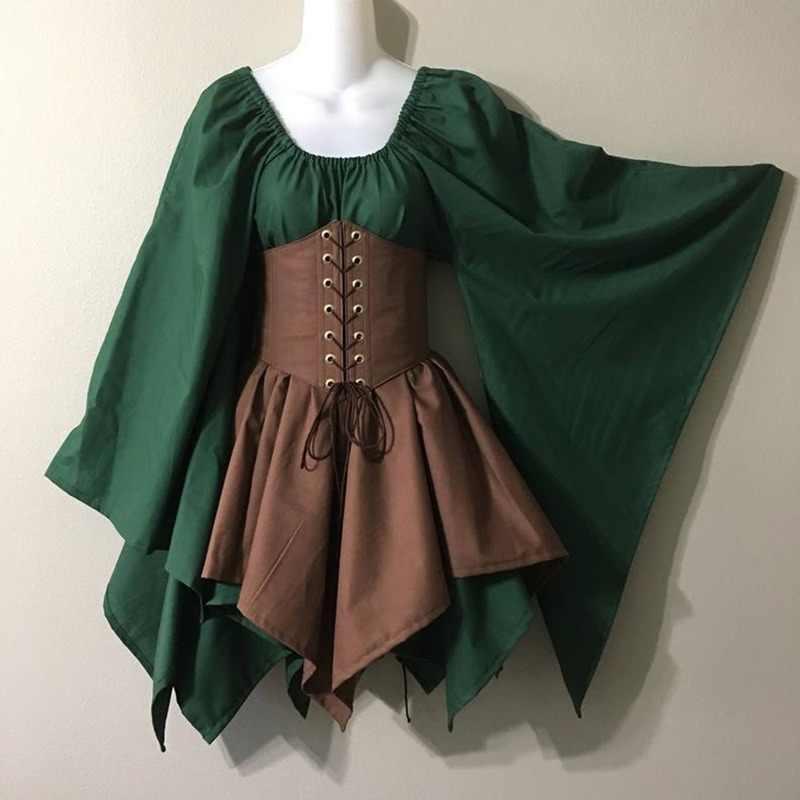 Celtic Medieval Elfo de Fadas Élfica Cosplay Costume Rapariga das mulheres Princesa Vestido Formal Cintura Alta Saias Partido Cincher Corset Top Set