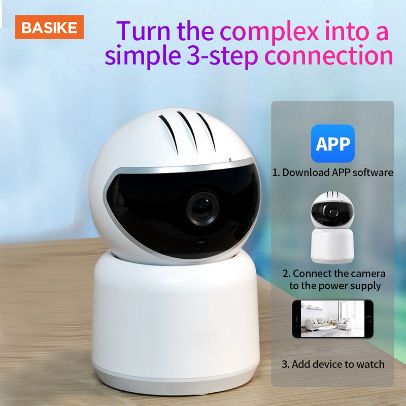 BASIKE Home Security IP Camera Wireless Smart WiFi Camera WI-FI Audio Record Surveillance Baby Monitor HD Mini CCTV Camera