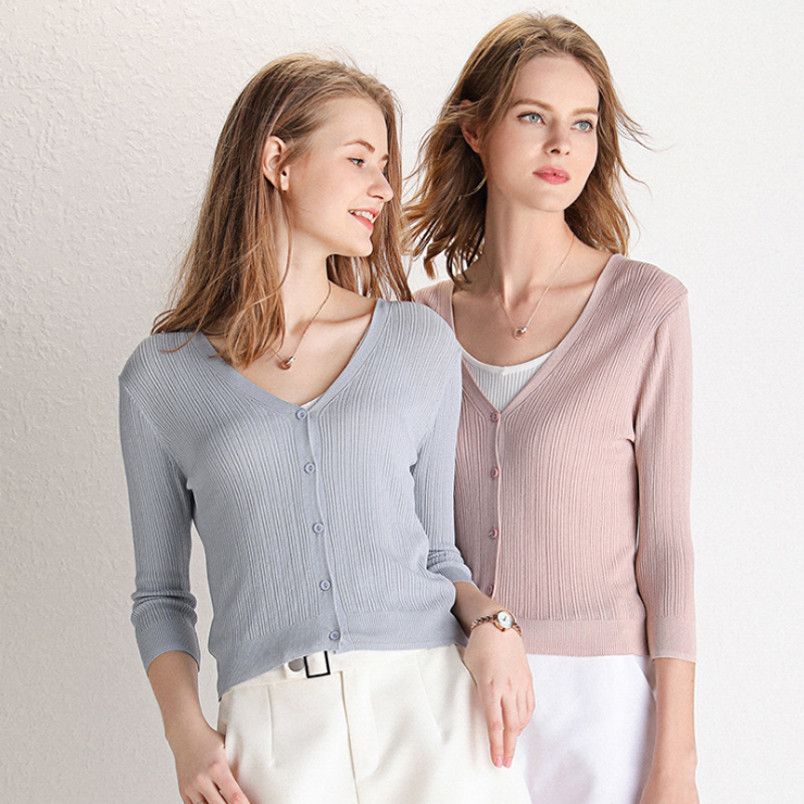 2020 Summer Cardigans Women Knitted Cardigan Female V neck <font><b>3/4</b></font> <font><b>Sleeve</b></font> Casual Thin Short Knit <font><b>Sweater</b></font> Coat Ladies Tops Gray Pink image
