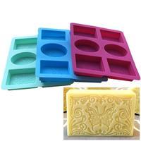 6 hohlraum Rechteck Oval Silikon Seife Mold Handgemachte Fertigkeit Machen Bad Seife Seife neue Formen Für Home I1L5