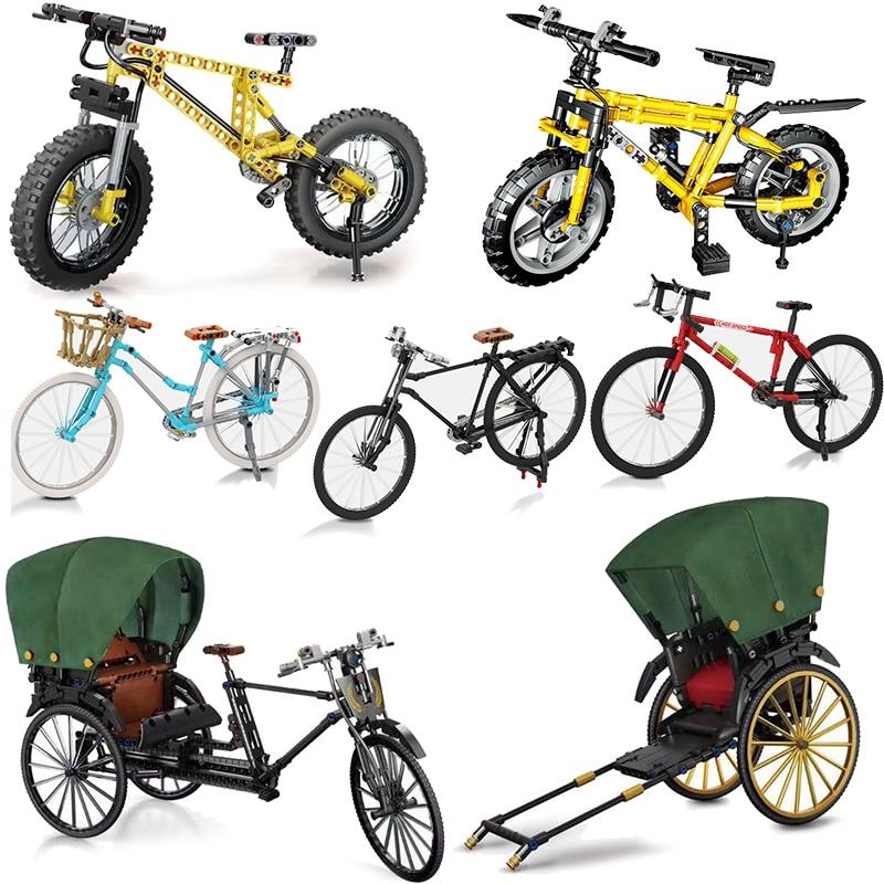Jinrikisha técnica velocidad de bicicleta campeones de modelo de edificio bloques ladrillos Moc Kits chico juguete vehículo de la Ciudad de montaña ciclismo Racer