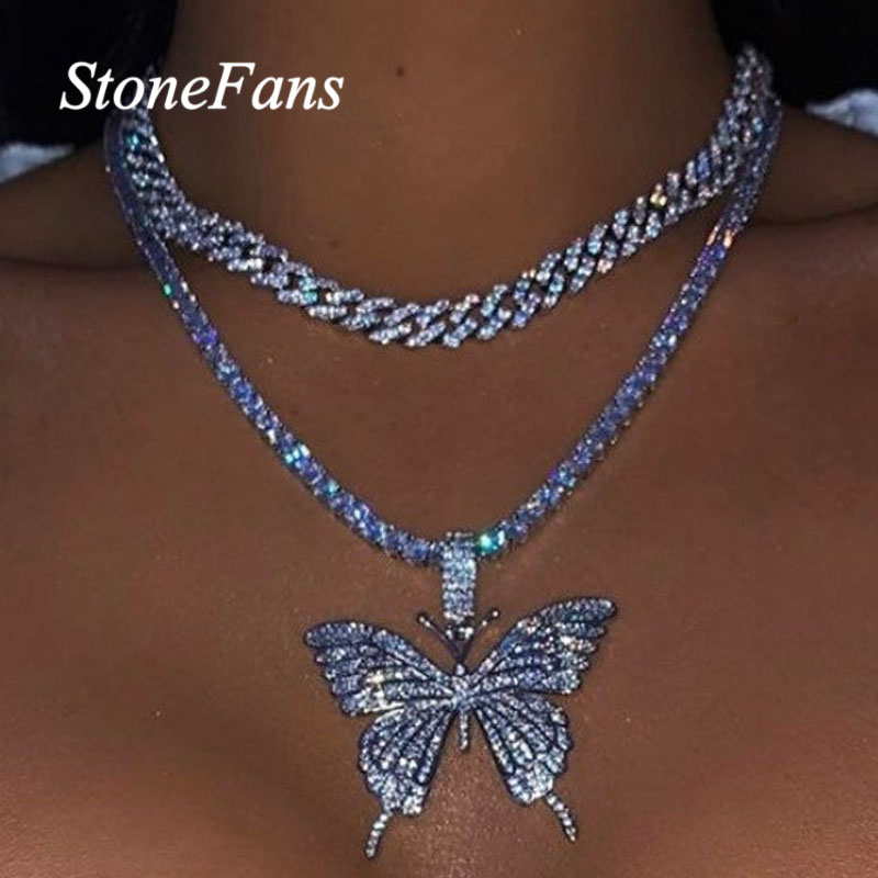 Stonefans Statement Butterfly Tennis Chain Necklace Choker For Women Crystal Rhinestone Pendant Necklace Chain Jewelry