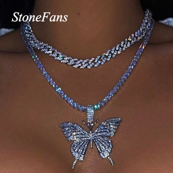Stonefans Statment Butterfly Tennis Chain Necklace Choker for Women Crystal Rhinestone Pendant Necklace Silver Chain Jewelry