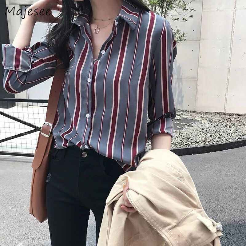 Shirts Women BF Unisex Office Lady Harajuku Striped Simple Leisure Vintage Womens Shirt Korean Style All-match Chic Fashion New