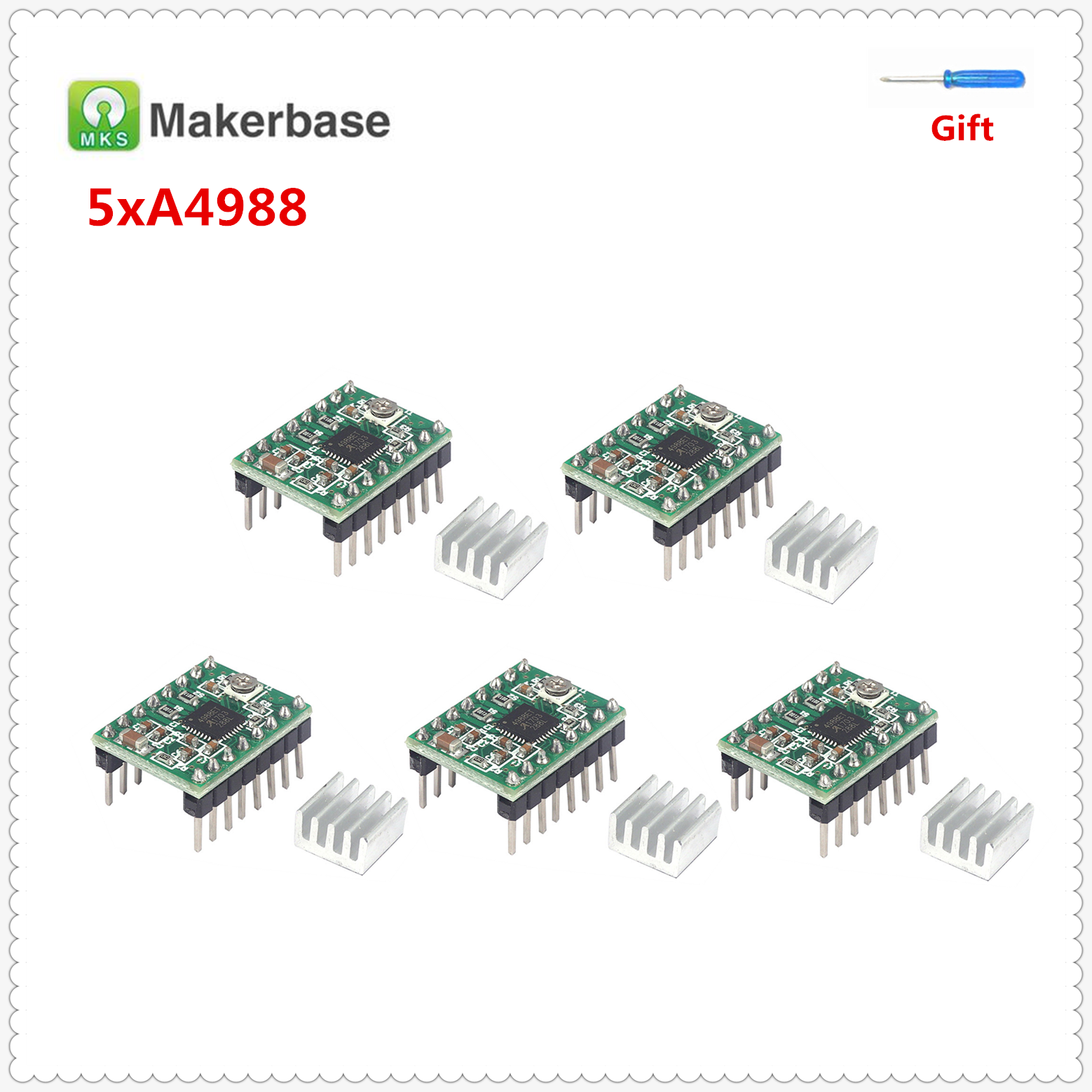 5pcs Pololu A4988 Driver Step Stick Electronics 3D Printer Parts Reprap Stepper Motor Driver With Heatsink Allegro 4988