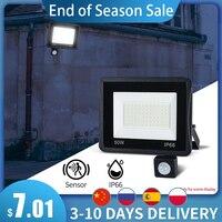 Outdoor PIR Motion Sensor Wand Lampe LED Flutlicht Balck 50W 100W 30W 20W 10W IP66 220V Foco LED Hängen Außen Garten licht