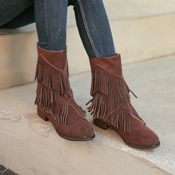 2020 Fashion Fringed Women Mid-Calf Boots Suede Tassels Female Back Zipper Flat Boots Autumn Winter Riding Boot