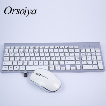 2.4G Wireless Keyboard and Mouse Combo Orsolya Compact full-size keyboard 2400dpi optical mouse Low noise,English,Spanish,German,Japanese,French,silver&white