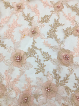 (5yards/pc) graceful embroidered African French net lace fabric with beads peach tulle lace fabric for party dress  FZZ650